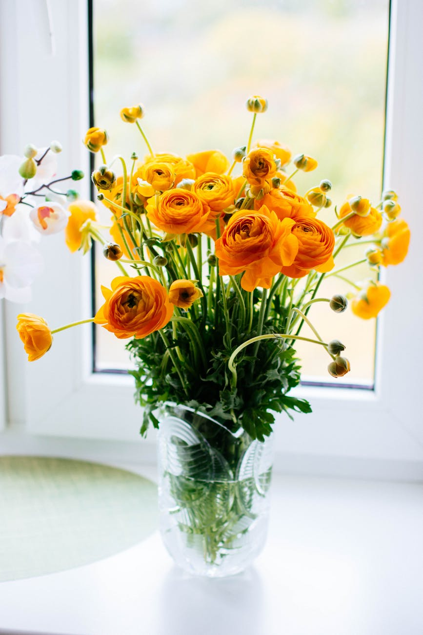 photo of yellow flowers in a glass vase next to a window